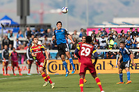 SAN JOSE, CA - April 5, 2015: The San Jose Earthquakes vs Real Salt Lake match at Avaya Stadium in San Jose, CA. Final score SJ Earthquakes 0, Real Salt Lake 1.