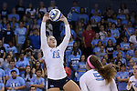 10 September 2015: North Carolina's Jordyn Schnabl (13). The University of North Carolina Tar Heels hosted the Stanford University Cardinal at Carmichael Arena in Chapel Hill, NC in a 2015 NCAA Division I Women's Volleyball contest. North Carolina won the match 25-17, 27-25, 25-22.