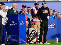Jordan Spieth (USA) on the 1st tee during the Saturday Fourball Matches of the Ryder Cup at Gleneagles Golf Club on Saturday 27th September 2014.<br /> Picture:  Thos Caffrey / www.golffile.ie