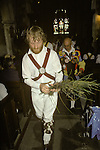 Rush Bearing ceremony Wingrave Buckinghamshire. England. Morris men place strew rushes symbolically around the church during the service.
