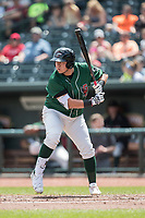 Great Lakes Loons first baseman Eric Meza (27) at bat against the Bowling Green Hot Rods during the Midwest League baseball game on June 4, 2017 at Dow Diamond in Midland, Michigan. Great Lakes defeated Bowling Green 11-0. (Andrew Woolley/Four Seam Images)