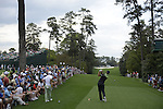 AUGUSTA, GA - APRIL 11: Dustin Johnson tees off during the First Round of the 2013 MAsters Golf Tournament at Augusta National Golf Club on April 10in Augusta, Georgia. (Photo by Donald Miralle) *** Local Caption ***