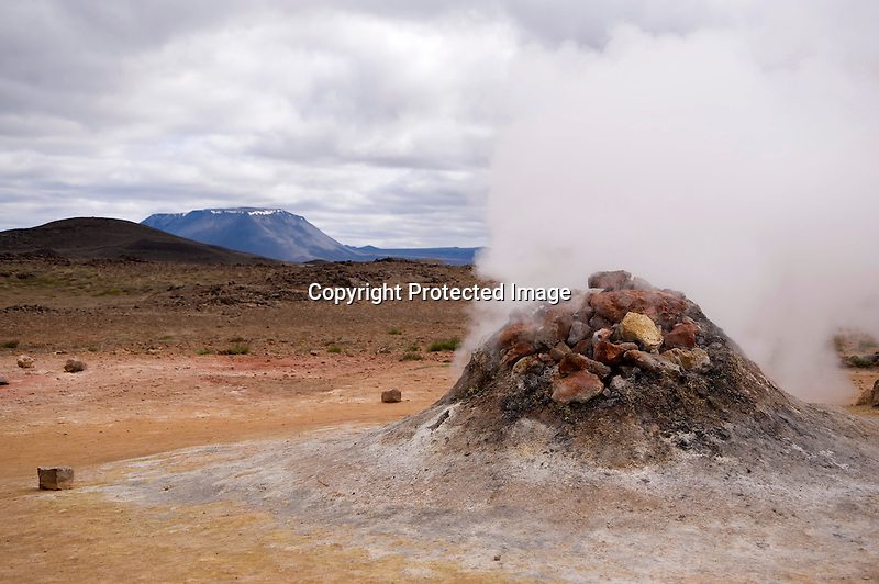 Steaming Volcanic Vent at Hverarond Geothermal Field in North Iceland