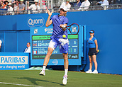 June 19th 2017, Queens Club, West Kensington, London; Aegon Tennis Championships, Day 1; Denis Shapovalov of Canada plays a forehand versus Kyle Edmund of Great Britain