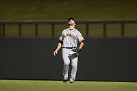 Scottsdale Scorpions right fielder Heath Quinn (45), of the San Francisco Giants organization, prepares to catch a fly ball during an Arizona Fall League game against the Salt River Rafters at Salt River Fields at Talking Stick on October 11, 2018 in Scottsdale, Arizona. Salt River defeated Scottsdale 7-6. (Zachary Lucy/Four Seam Images)