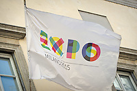 The EXPO Flag during the italian first president Matteo Renzi in Milan for EXPO, on May 13, 2014. Photo: Adamo Di Loreto/BuenaVista*photo