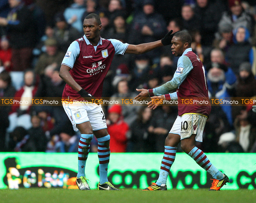 Christian Benteke is congratulated by Charles N'Zogbia after scoring the 1st goal for Aston Villa - Aston Villa vs West Ham United, Barclays Premier League at Villa Park - 10/02/13 - MANDATORY CREDIT: Rob Newell/TGSPHOTO - Self billing applies where appropriate - 0845 094 6026 - contact@tgsphoto.co.uk - NO UNPAID USE.