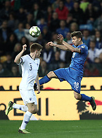 Football: Euro 2020 Group J qualifying football match Italy vs Finland at the Friuli Stadium in Udine on march  23, 2019<br /> Italy's Nicolò Barella (r) in action with Finland's Albin Granlund (l) during the Euro 2020 qualifying football match between Italy and Finland at the Friuli Stadium in Udine, on march 23, 019<br /> UPDATE IMAGES PRESS/Isabella Bonotto