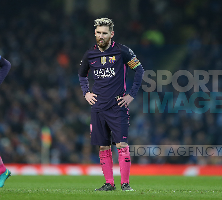 Lionel Messi of Barcelona watches the game pass him by during the Champions League Group C match at the Etihad Stadium, Manchester. Picture date: November 1st, 2016. Pic Simon Bellis/Sportimage