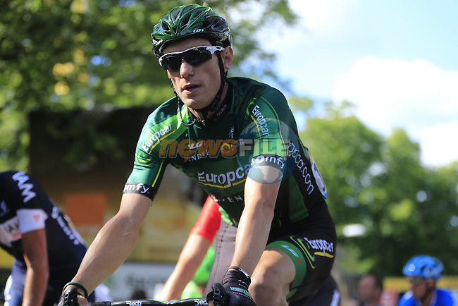 Pierre Rolland (FRA) Team Europcar crosses the finish line of Stage 1 of the 2014 Tour de France running 190.5km from Leeds to Harrogate. 5th July 2014.<br /> Picture: Eoin Clarke www.newsfile.ie