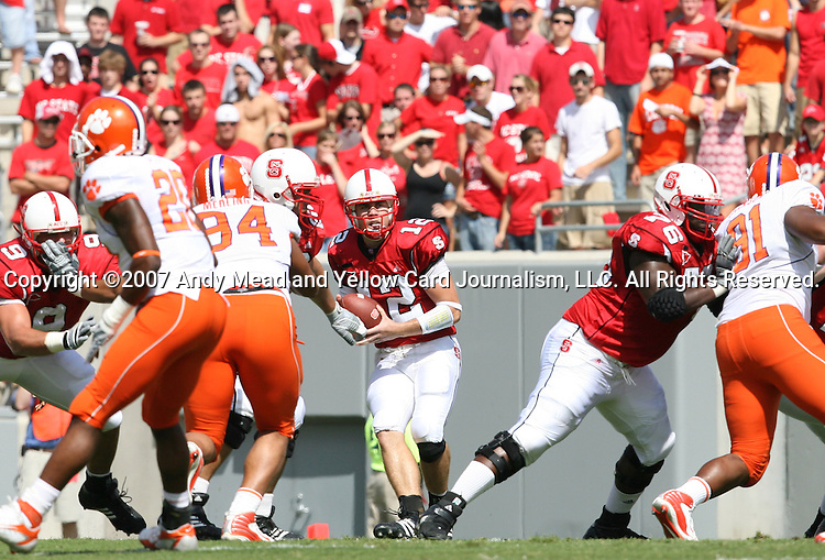 22 September 2007: North Carolina State's Harrison Beck (12). The Clemson University Tigers defeated the North Carolina State University Wolfpack 42-20 at Carter-Finley Stadium in Raleigh, North Carolina in an Atlantic Coast Conference NCAA College Football Division I game.