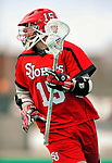 19 March 2011: St. John's University Red Storm Attacker Charlie Holenstein, a Junior from Downingtown, PA, in action against the University of Vermont Catamounts at Moulton Winder Field in Burlington, Vermont. The Catamounts defeated the visiting Red Storm 14-9. Mandatory Credit: Ed Wolfstein Photo