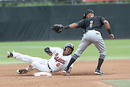 Bowie, MD - May 6, 2018: Akron RubberDucks shortstop Willi Castro (1) tags out Bowie Baysox designated hitter D'Arby Myers (6) during the MiLB game between Akron and Bowie at  Baysox Stadium in Bowie, MD.  (Photo by Elliott Brown/Media Images International)