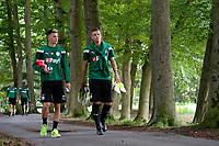 MARIENHOF - Voetbal, Trainingskamp FC Groningen , seizoen 2017-2018, 13-07-2017, spelers op weg naar de training met FC Groningen speler Samir Memisovic en FC Groningen speler Ajdin Hrustic