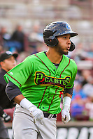 Lake County Captains first baseman Miguel Jerez (36) runs to first base during a Midwest League game against the Wisconsin Timber Rattlers on May 10, 2019 at Fox Cities Stadium in Appleton, Wisconsin. Wisconsin defeated Lake County 5-4. (Brad Krause/Four Seam Images)