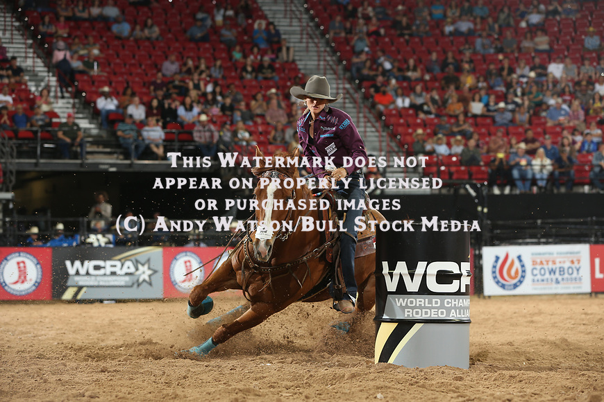 Stevi Hillman for 14.554 during the first round of the Las Vegas WCRA rodeo. Photo by Andy Watson