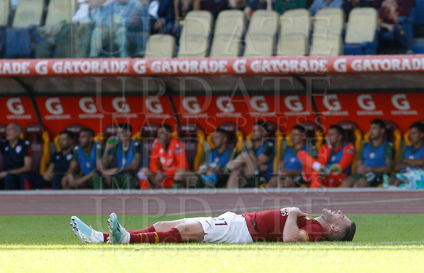 Roma's Jordan Veretout lies on the pitch during the Serie A soccer match between Roma and Cagliari at Rome's Olympic Stadium, October 6, 2019. UPDATE IMAGES PRESS/ Riccardo De Luca