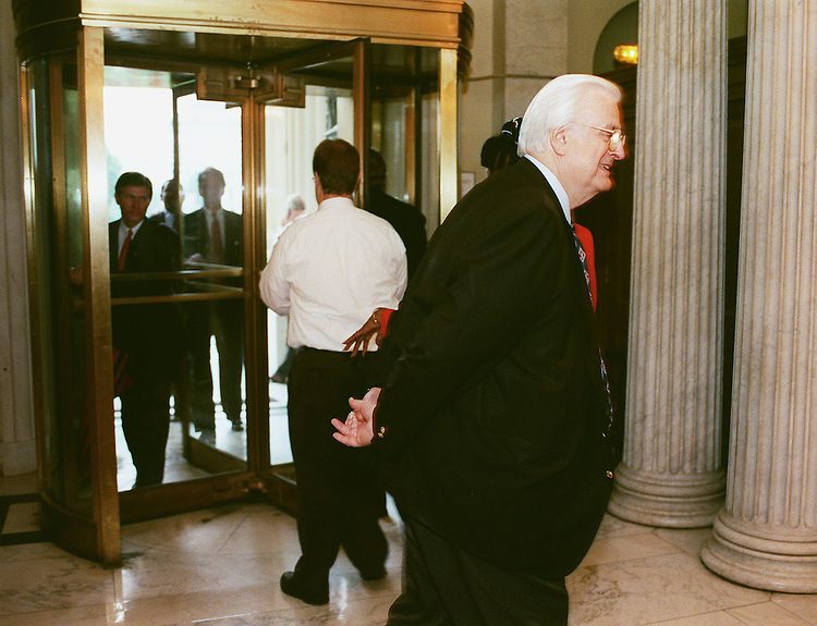 6/17/99.JUVENILE JUSTICE/GUN CONTROL--Judiciary Chairman Henry Hyde, R-Ill., waits for an elevator after voting on an amendment as other members file through the East Front door just off the House floor..CONGRESSIONAL QUARTERLY PHOTO BY SCOTT J. FERRELL