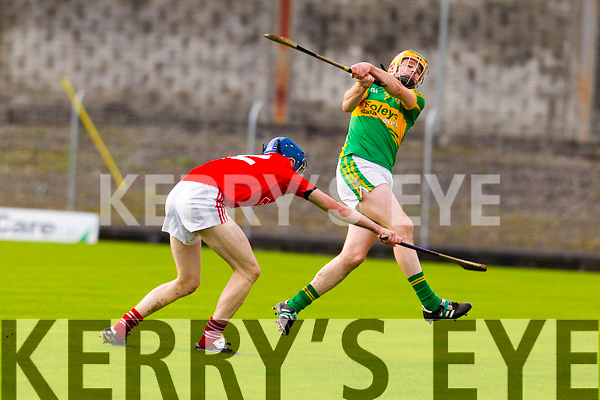 Stephen Power Lixnaw in action against Chris Browne Bruff in the Munster Club Intermediate Hurling Championship Semi Final at Austin STacj Park on Sunday.