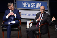 Washington, DC - February 25, 2016: U.S. Supreme Court Associate Justice Stephen G. Breyer (r) responds to a question during a discussion at the Newseum in the District of Columbia, February 25, 2016, held in conjunction with the Supreme Court Fellows Program. The event was moderated by NBC News correspondent Pete Williams.  (Photo by Don Baxter/Media Images International)