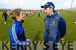 Mark O'Se having a chat with Valarie Mulcahy, from caork LGFA player and current manager of Ballboden St Endas LGFA  in the Comórtas Peile Páidi Ó Sé 2020 in Gallarus on Sunday.