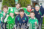 The children of St Joseph's NS, Castlemaine gave Milltown/Castlemaine club captain Ciaran Kelliher a rousing reception when he arrived at the school on Tuesday ahead of this weekend's All Ireland Intermediate final in Croke Park l-r: John Dennehy, Maeve Rochford, Marian Dennehy, Ciaran Kelliher, Katie O'Dowd, Jack Nagle and Niamh Foley..