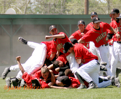 A jubilant King's College baseball team, celebrates their win, 6-3, against DeSales University on Sunday May 7, 2006. DeSales just couldn't find their groove during the final game and took second place at the 6th Annual Middle Atlantic Freedom Conference hosted by DeSales University at Memorial Park in Quakertown, Pa. (Jane Therese/Special to The Morning Call).