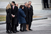 Congressional leadership including House Speaker Rep. Paul Ryan, Senate Majority Leader Sen. Mitch McConnell, Senate Minority Leader Sen. Chuck Schumer, House Minority Leader Rep. Nancy Pelosi and their respective spouses, gather on the East Front to view the remains of President George H.W. Bush be transported from the U.S. Capitol to the National Cathedral Wednesday December 5, 2018. <br /> Credit: Sarah Silbiger / Pool via CNP