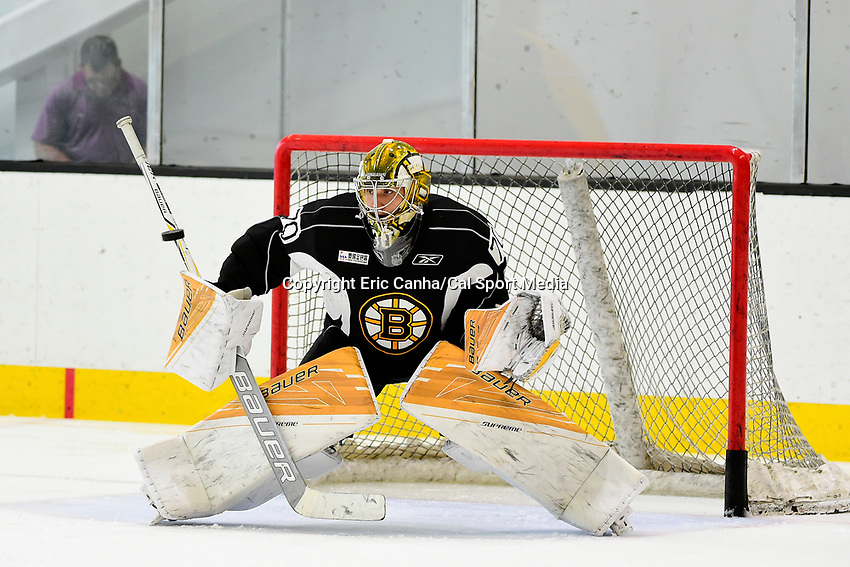 July 7, 2017: Boston Bruins goalie Dan VlAdar (70) tracks the puck during the Boston Bruins development camp held at Warrior Ice Arena in Brighton, Massachusetts. Eric Canha/CSM