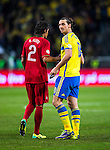 Solna 2013-11-19 Fotboll VM-kval Playoff , Sverige - Portugal :  <br /> Sverige Zlatan Ibrahimovic tackas av Portugal Bruno Alves efter matchen <br /> (Photo: Kenta J&ouml;nsson) Keywords:  Sweden Portugal