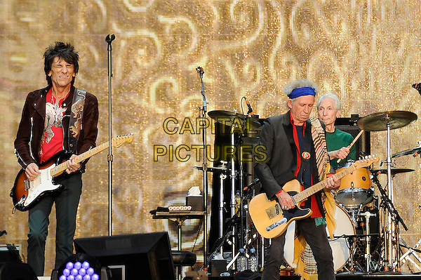 Ronnie Wood and Keith Richards of The Rolling Stones <br /> performing at Barclaycard British Summertime, Hyde Park, London, England, UK, <br /> 13th July 2013.<br /> music concert gig festival live on stage  half length playing guitar <br /> CAP/MAR <br /> &copy; Martin Harris/Capital Pictures