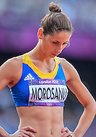 August 05, 2012: Angela Morosanu prepares to compete in round one of women's 400m hurdles at the Olympic Stadium on day nine of 2012 Olympic Games in London, United Kingdom.