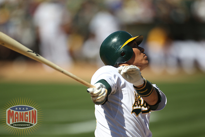 OAKLAND, CA - SEPTEMBER 5: Hideki Matsui #55 of the Oakland Athletics bats against the Kansas City Royals during the game at O.co Coliseum on September 5, 2011 in Oakland, California. Photo by Brad Mangin