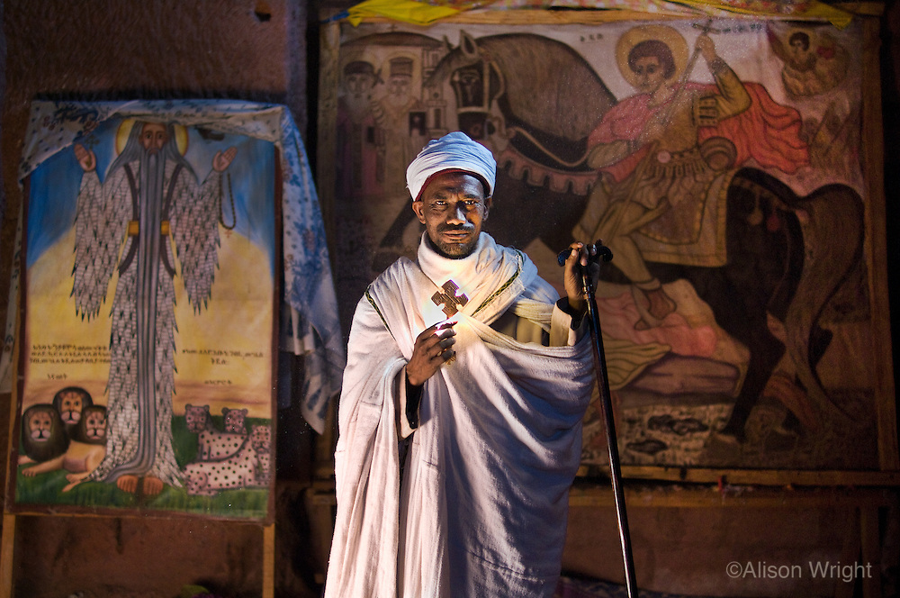 Priest, (Kase Demia Kebede), at House of Merkorious church.