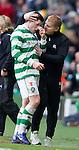 Neil Lennon with goalscorer Gary Hooper