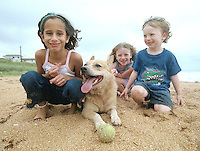 Three children and an Australian Cattle Dog on the beach in Flagler Beach, FL.  (Photo by Brian Cleary/www.bcpix.com)