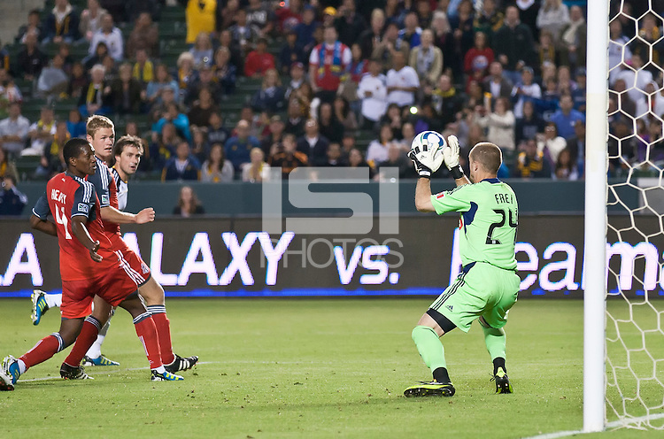 CARSON, CA – June 11, 2011: Toronto FC goalie Stefan Frei (24) makes a save on a shot on goal during the match between LA Galaxy and Toronto FC at the Home Depot Center in Carson, California. Final score LA Galaxy 2, Toronto FC 2.