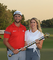 Jon Rahm (ESP) winner of the DP World Tour Championship 2017 with Kelly Cahill at Jumeirah Golf Estates, Dubai, United Arab Emirates. 19/11/2017<br /> Picture: Golffile | Thos Caffrey<br /> <br /> <br /> All photo usage must carry mandatory copyright credit     (© Golffile | Thos Caffrey)