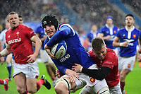 Arthur Iturria of France offloads during the NatWest Six Nations match between France and Wales on February 1, 2019 in Paris, France. (Photo by Dave Winter/Icon Sport)