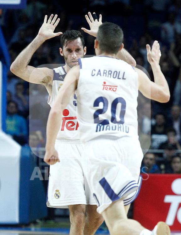 Real Madrid's Rudy Fernandez (l) and Jaycee Carroll celebrates during Euroleague, Regular Season, Round 5 match. November 3, 2016. (ALTERPHOTOS/Acero)