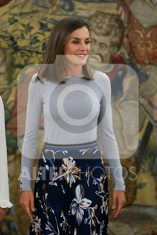 Queen Letizia of Spain attends several audiences at Zarzuela Palace in Madrid, Spain. September 14, 2018. (ALTERPHOTOS/A. Perez Meca)