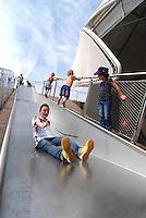 Milan 2 May 2015<br /> EXPO 2015. Bambini giocano all'esterno del adiglione della Germani<br /> EXPO 2015. Children playing outside the German pavilion.<br /> Photo Livio Senigalliesi