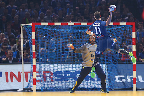 11.01.2017. Accor Arena, Paris, France. 25th World Handball Championships France versus Brazil. Michael Guigou (France) leaps high to shooot on Cesar Augusto De Almeida (bra)