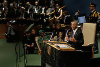 United States President Barack Obama delivers his address during the United Nations 71st session of the General Debate at the United Nations General Assembly at United Nations headquarters in New York, New York, USA, 27 September 2016. Photo Credit: Peter Foley/CNP/AdMedia