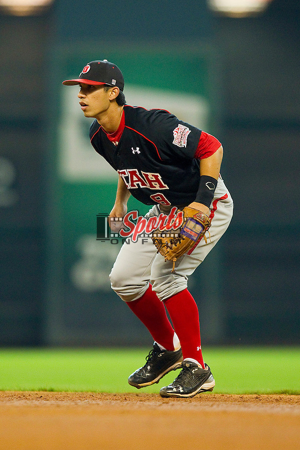 Second baseman Michael Beltran #8 of the Utah Utes on defense against the Baylor Bears at Minute Maid Park on March 5, 2011 in Houston, Texas.  Photo by Brian Westerholt / Four Seam Images