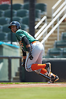 Chris Torres (20) of the Greensboro Grasshoppers starts down the first base line against the Kannapolis Intimidators at Kannapolis Intimidators Stadium on August 5, 2018 in Kannapolis, North Carolina. The Grasshoppers defeated the Intimidators 2-1 in game one of a double-header.  (Brian Westerholt/Four Seam Images)