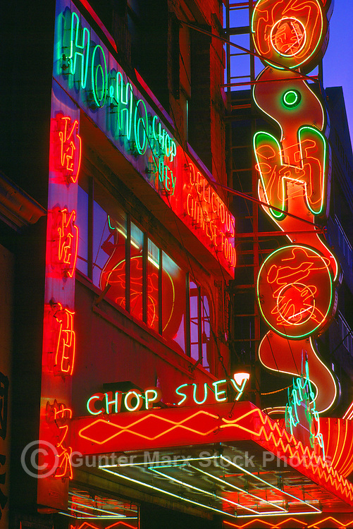 Neon Signs on Chinese Restaurant, Chinatown, Vancouver, BC, British Columbia, Canada