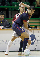 Caja Segovia's Pablo del Moral (b) and FC Barcelona Alusport's Gabriel Da Silva during Spanish National Futsal League match.November 24,2012. (ALTERPHOTOS/Acero) /NortePhoto