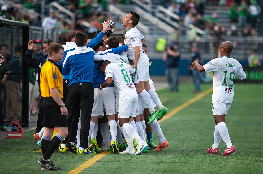HEMPSTEAD, NY – April 13: The New York Cosmos celebrate a goal against the Atlanta Silverbacks during an NASL match on April 13, 2014 at  Shuart Stadium in Hempstead, New York.