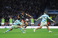 Anthony Watson of England chips ahead between Santiago Gonzalez Iglesias and Ramiro Moyano of Argentina during the Old Mutual Wealth Series match between England and Argentina at Twickenham Stadium on Saturday 11th November 2017 (Photo by Rob Munro/Stewart Communications)